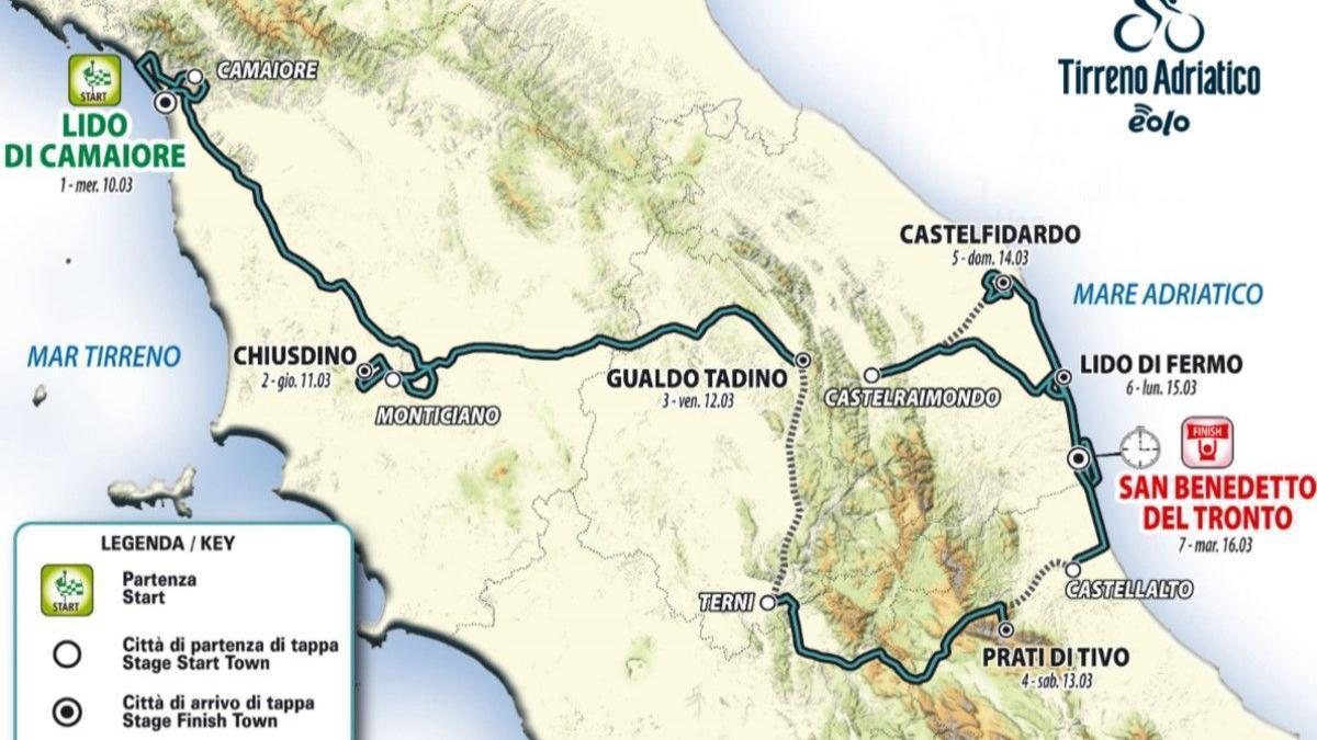 Ciclismo, ritorna la Tirreno-Adriatico: al via il 10 marzo